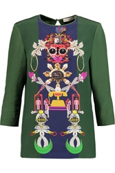 Mary Katrantzou Spellbound Printed Silk Charmeuse Top