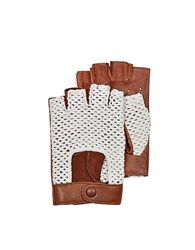 Forzieri Brown Leather And Cotton Men's Driving Gloves Cognac