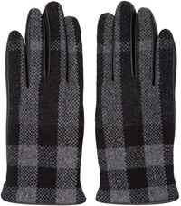 Burberry Grey And Black Check Gloves