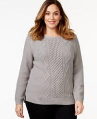 Karen Scott Plus Size Cable Knit Sweater Only At Macy's Smoke Grey Heather