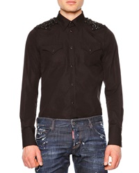 Dsquared Western Style Sport Shirt With Beaded Detail Black