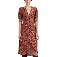 Masscob Dafne Ruched Floral Silk Dress Red