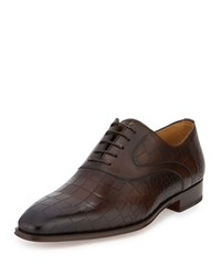 Magnanni For Neiman Marcus Crocodile Embossed Leather Oxford Brown
