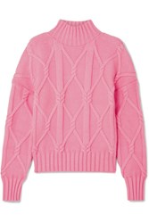 J.Crew Tucker Cable Knit Cotton Blend Sweater Pink