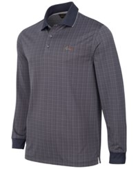 Greg Norman For Tasso Elba Men's Long Sleeve Dotted Grid Polo Only At Macy's Ebony
