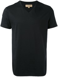 Burberry V Neck T Shirt Men Cotton M Black