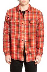 Obey Men's Liam Lined Flannel Jacket Red Multi