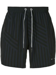 The Upside Loose Striped Running Shorts Black