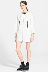 Junya Watanabe Perforated Faux Leather Coat White