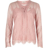 River Island Pink Floral Lace Long Sleeve Blouse