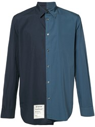Maison Martin Margiela Asymmetric Two Tone Shirt Blue