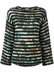 Etro Maglia Striped Panel Top Women Spandex Elastane Viscose 44 Black