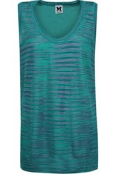 M Missoni Paneled Crocheted Wool Blend And Silk Crepe De Chine Top Teal