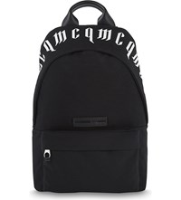 Mcq By Alexander Mcqueen Gothic Script Classic Canvas Backpack Black White