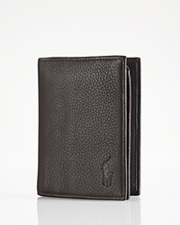 Polo Ralph Lauren Pebbled Leather Window Billfold Wallet Brown