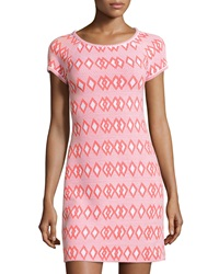 Yoana Baraschi Short Sleeve Geometric Print Sheath Dress Pearl Gray