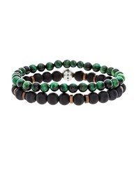Steve Madden Beaded Duo Stretch Bracelet Green Black