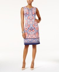 Jm Collection Petite Printed Sheath Dress Only At Macy's Springtime Scroll