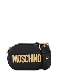 Moschino Logo Grained Leather Camera Bag Black