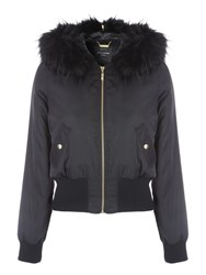 Jane Norman Black Split Hood Bomber Black