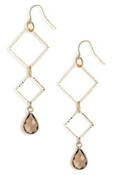 Elise M. Callie Triangle Drop Earrings Gold Brown