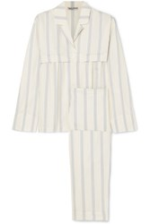 Three Graces London Moore And Marmee Striped Cotton Voile Pajama Set Cream