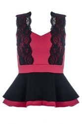 Quiz Berry Marcella Peplum Lace Top Red