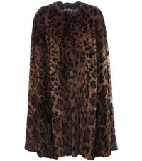 Dolce And Gabbana Leopard Print Fur Cape Brown