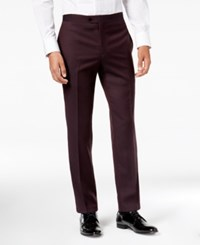 Tallia Men's Slim Fit Burgundy Solid Twill Wool Suit Pants