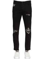 Dolce And Gabbana Corona Destroyed Cotton Jeans Black