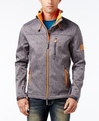 Superdry Men's Windtrekker Soft Shell Coat Dark Grey Grit Fluro Orange