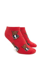 Forever 21 Scottish Terrier Ankle Socks Red Multi