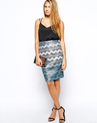 Traffic People Lace Embrace Wiggle Skirt Blue