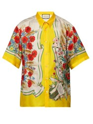 Gucci Floral Print Silk Twill Shirt Yellow Multi