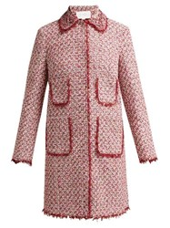 Giambattista Valli Floral Embellished Single Breasted Tweed Coat Burgundy Multi