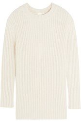 Adam By Adam Lippes Ribbed Silk And Linen Blend Sweater Cream
