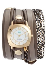 La Mer Women's Collections Odyssey Leather And Chain Wrap Strap Watch 25.4Mm