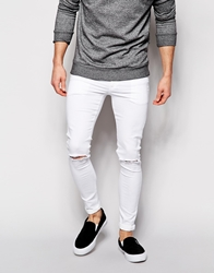 Asos Extreme Super Skinny Jeans With Knee Rips White