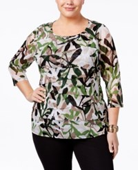 Alfani Plus Size Tiered Printed Mesh Top Only At Macy's Green Foliage Silhouette