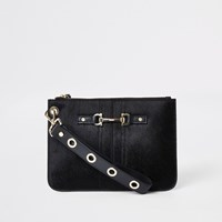River Island Black Leather Snaffle Pouch Clutch Bag