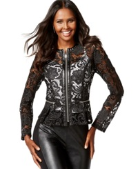 Inc International Concepts Petite Faux Leather Trim Lace Peplum Jacket Only At Macy's