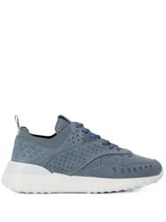Tod's Perforated Low Cut Sneakers Blue