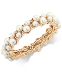 Charter Club Gold Tone Imitation Pearl And Crystal Stretch Bracelet Only At Macy's