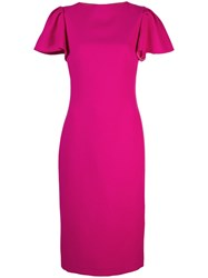 Brandon Maxwell Plain Short Sleeved Dress Pink