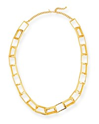 Kenneth Jay Lane Long Gold Plated Box Chain Necklace