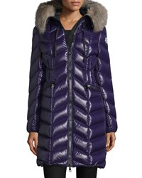 Moncler Bellette Fur Trim Puffer Coat Purple