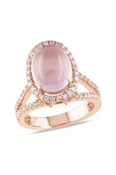 Rose Gold Plated Sterling Silver Rose Quartz Pave Cz Ring Pink