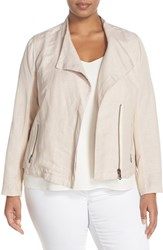 Plus Size Women's Nic Zoe 'Sundown' Moto Jacket Fawn Mix