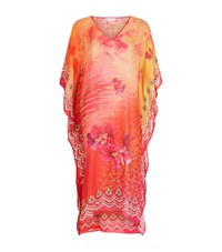 Elizabeth Hurley Beach Printed V Neck Silk Kaftan Female Pink