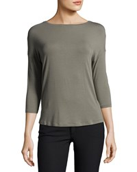 Majestic Soft Touch 3 4 Sleeve Boat Neck Top Army